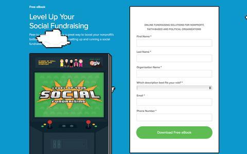 Screenshot of Landing Page qgiv.com - Free Social Fundraising eBook   Qgiv - captured April 20, 2017