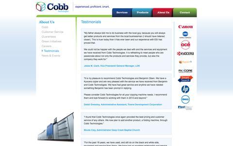 Screenshot of Testimonials Page cobbtechnologies.com - Testimonials - Cobb Technologies - captured Sept. 30, 2014