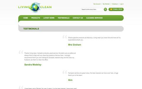 Screenshot of Testimonials Page livingclean.co.uk - Testimonials - captured Oct. 29, 2014