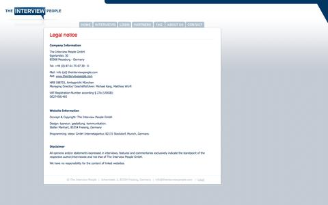 Screenshot of Terms Page theinterviewpeople.com - The Interviewpeople : Legal - captured Oct. 26, 2014