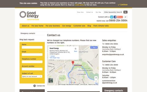 Screenshot of Contact Page goodenergy.co.uk - Contact us | Good Energy - captured Dec. 12, 2015