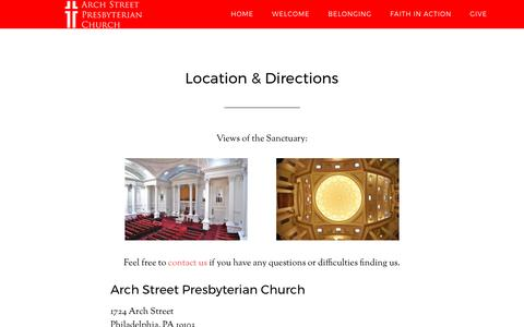 Screenshot of Maps & Directions Page archstreetpres.org - Location & Directions - Arch Street Presbyterian Church - captured April 20, 2017