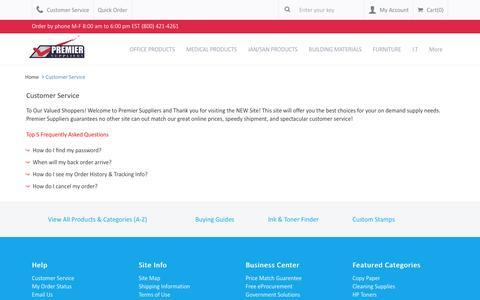 Screenshot of Support Page premiersuppliers.com - Customer Service - captured Dec. 11, 2015