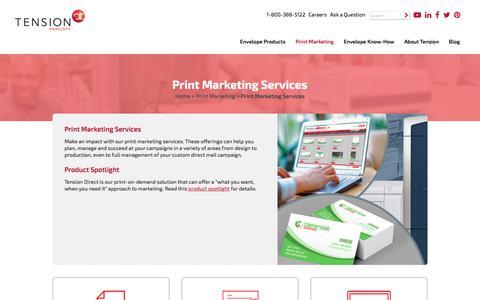 Screenshot of Services Page tensionenvelope.com - Print Marketing Services - captured Sept. 24, 2019