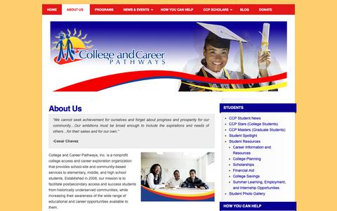 Screenshot of About Page collegeandcareerpathways.org - About Us | College and Career Pathways - captured Sept. 28, 2018