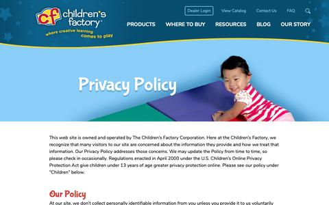 Screenshot of Privacy Page childrensfactory.com - Privacy Policy - Children's Factory - captured Dec. 12, 2018
