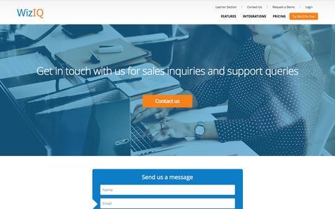 Screenshot of Contact Page wiziq.com - WizIQ Contact | WizIQ Phone Number - captured May 9, 2017
