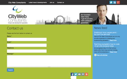Screenshot of Contact Page citywebconsultants.co.uk - Contact us   City Web Consultants - captured Oct. 27, 2014