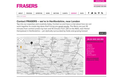 Screenshot of Contact Page frasers.eu.com - Contact FRASERS | Bourne End | Hemel Hempstead | Hertfordshire - captured Sept. 30, 2014