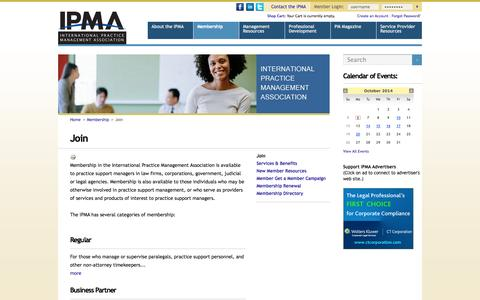 Screenshot of Signup Page paralegalmanagement.org - Join - captured Oct. 6, 2014