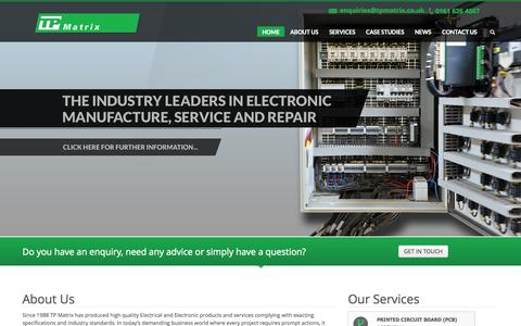 Screenshot of Home Page tpmatrix.co.uk - TP Matrix - Electrical Test & Repair, Sub Contract Manufacture - captured Oct. 6, 2014