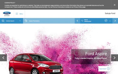 Screenshot of Home Page salujaford.in - Welcome to Saluja Ford - - Authorised Ford Dealership in Punjab - captured Oct. 4, 2017