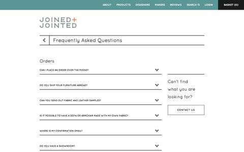 Screenshot of FAQ Page joinedandjointed.com - Frequently Asked Questions - Magento Commerce - captured Oct. 6, 2014