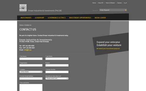 Screenshot of Contact Page eii.ae - Contact Us - Emaar Industries & Investments - captured Oct. 2, 2014
