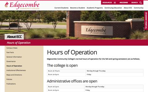 Screenshot of Hours Page edgecombe.edu - Hours of Operation - Edgecombe Community College - captured Oct. 25, 2016