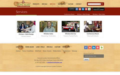 Screenshot of Services Page hancocklumber.com - Our Services | Hancock Lumber Supplies : - captured Sept. 30, 2014