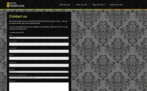 Screenshot of Contact Page pcmhealthcare.com - Contact us » PCM Healthcare - captured Oct. 1, 2014