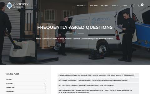 Screenshot of FAQ Page packserv.com.au - FAQ - captured Dec. 13, 2018