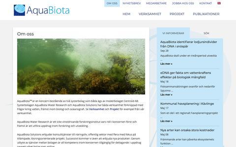 Screenshot of Services Page aquabiota.se - Om oss - AquaBiota - captured Oct. 4, 2018