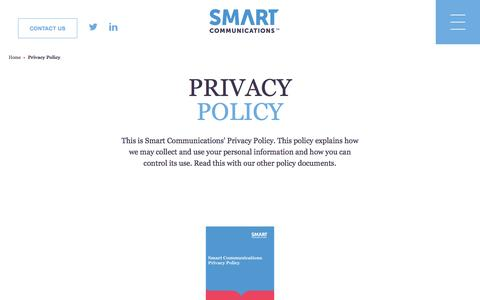 Screenshot of About Page smartcommunications.com - Privacy Policy | Smart Communications - captured Nov. 16, 2016
