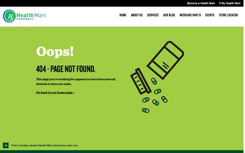 Screenshot of Contact Page healthmart.com - Page Not Found - captured Sept. 23, 2015