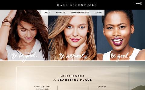 Screenshot of Jobs Page bareescentuals.com - Sites-BareEscentuals-Site - captured Nov. 8, 2016