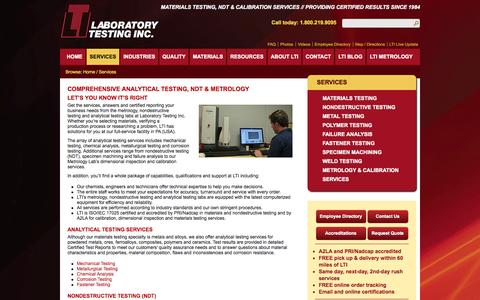 Screenshot of Services Page labtesting.com - Analytical Testing, Analytical Testing Services | Laboratory Testing Inc. - captured Oct. 1, 2014