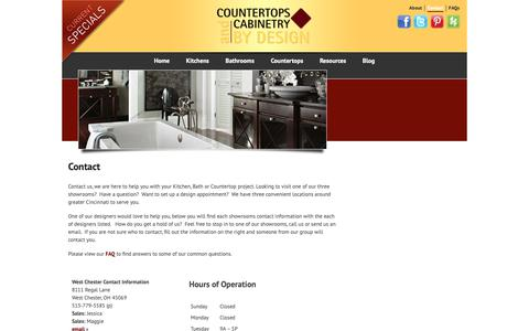 Screenshot of Contact Page cacbydesign.com - Contact | Countertops and Cabinetry by Design - captured Nov. 11, 2018