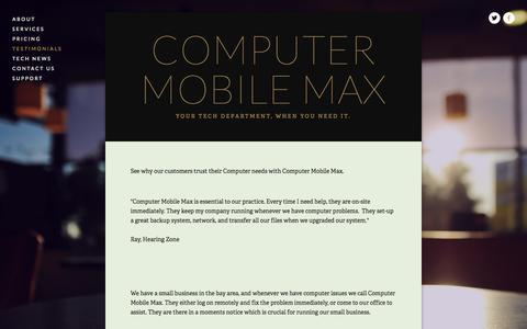 Screenshot of Testimonials Page computermobilemax.com - Testimonials — Computer Mobile Max - captured Sept. 30, 2014