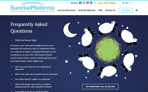 Screenshot of FAQ Page sunrisemattress.com - FAQ - Sunrise Mattress - captured Sept. 21, 2018