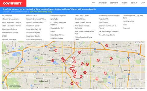 Screenshot of Locations Page gymfinite.com - Gymfinite - the ultimate multi-gym membership - captured Oct. 29, 2014