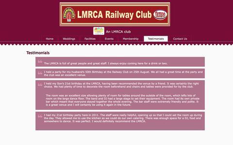 Screenshot of Testimonials Page railwayclubaltrincham.co.uk - Railway Club Altrincham   Testimonials   LMRCA Railway Club. - captured Jan. 27, 2018