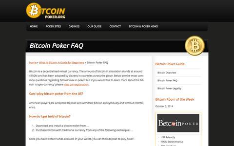 Screenshot of FAQ Page bigcoinpoker.com - Bitcoin Poker FAQ | BigcoinPoker.com - captured Oct. 5, 2014