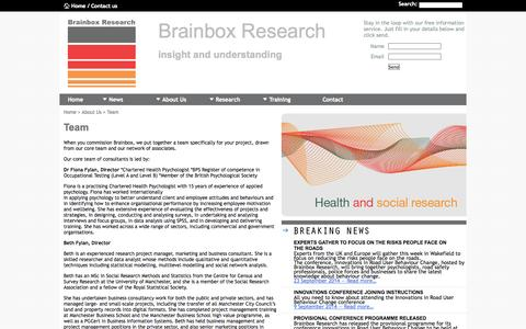 Screenshot of Team Page brainboxresearch.com - Brainbox Research - Qualitative Research, Quantitative Research, Marketing and Training - captured Sept. 30, 2014