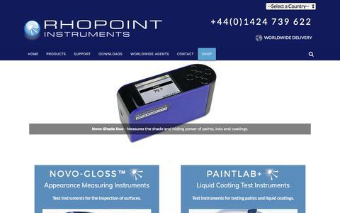 Screenshot of Home Page rhopointinstruments.com - Gloss Meters | Gloss Measurement Meter, Glossmeter, Glossmeters, DOI Meters - captured Oct. 22, 2017
