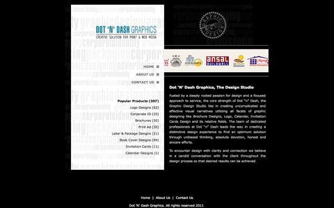 Screenshot of Home Page dotndashgraphics.com - Graphic Design Studio: Brochure Design Jaipur, Calendar Designs - captured Sept. 30, 2014