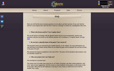 Screenshot of FAQ Page mantikgames.com - Mantik Games - FAQ - captured Sept. 30, 2014