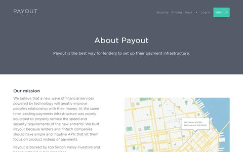 Screenshot of About Page payout.com - Payout - Easy, instant payouts. - captured May 1, 2017