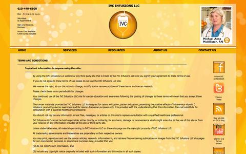 Screenshot of Terms Page ivcinfusions.com - IVC Infusions LLC - terms - conditions - Important Information - captured Oct. 6, 2014