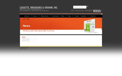 Screenshot of Press Page lbgweb.com - Leggette, Brashears & Graham, Inc. - Investigation and remediation of ground-water problems - captured Jan. 27, 2016