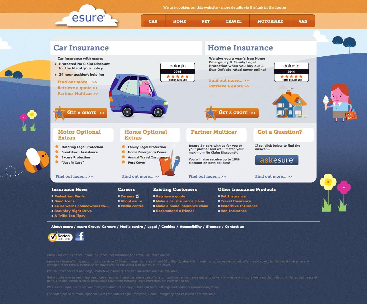Esure Claims Number >> Web Design Example A Page On Esure Com Crayon