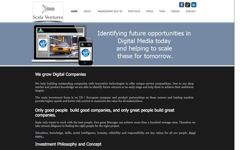 Screenshot of Home Page scala-ventures.com - Scala Ventures - captured Sept. 30, 2014