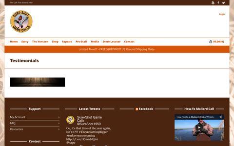 Screenshot of Testimonials Page sureshotgamecalls.com - Testimonials   Sure Shot Game Calls - captured Aug. 14, 2015