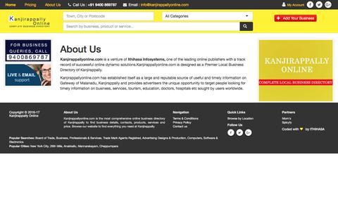 Screenshot of About Page kanjirappallyonline.com - Kanjirappally Online - Premiere Business Directory of Kanjirappally :  Kanjirappally Online - captured July 3, 2018