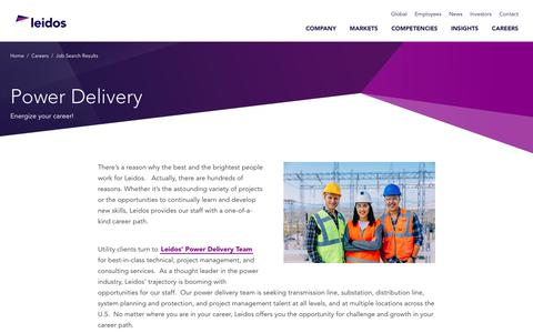 Screenshot of Jobs Page leidos.com - Power Delivery - captured Jan. 29, 2019