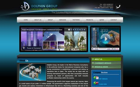 Screenshot of About Page dolphinqatar.com - Dolphin Qatar - Consultation | Agencies | Services - captured Oct. 5, 2014