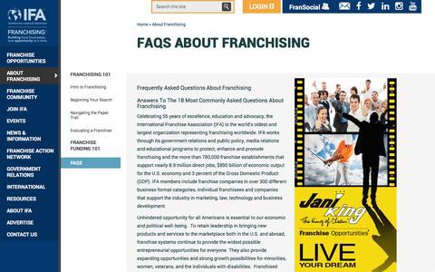 Screenshot of FAQ Page franchise.org - FAQs about Franchising   International Franchise Association - captured Jan. 17, 2016