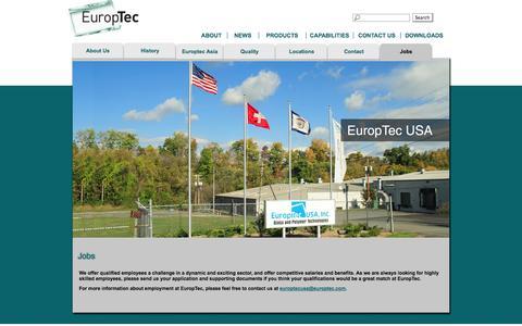 Screenshot of Jobs Page europtecusa.com - Jobs    Europtec USA Inc.   Jobs   Glass and Polymer Technologies - captured Oct. 3, 2014