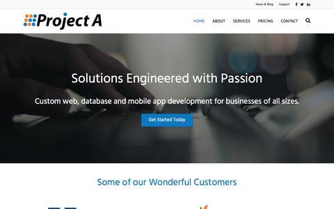 Screenshot of Home Page projecta.com - Project A | Custom Software Development, Web Design & Ecommerce in Ashland Oregon - captured July 22, 2018