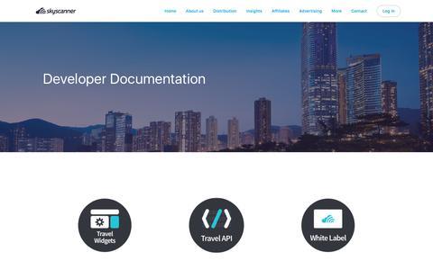 Screenshot of Developers Page skyscanner.net - Developer documentation — Skyscanner - captured Oct. 13, 2017